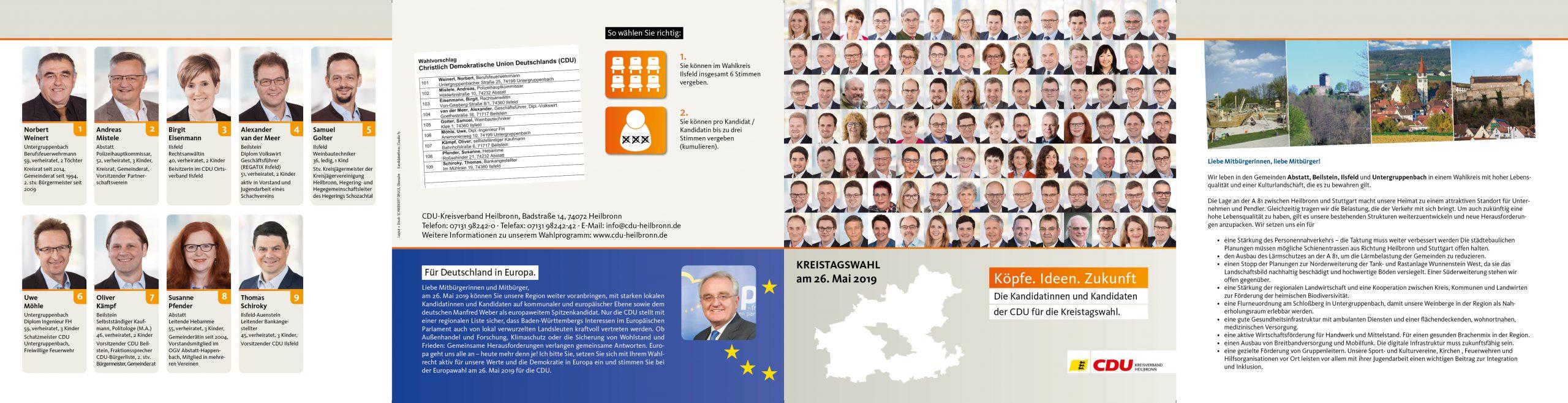 Flyer Kreistagswahl 2019 des Landkreis Heilbronn auf www.cdu-abstatt.de